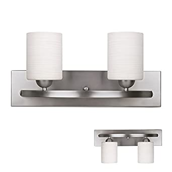 Brushed Nickel 2 Globe Vanity Bath Light Bar Interior Lighting Fixture