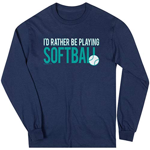 - ChalkTalkSPORTS Softball Long Sleeve T-Shirt | I'd Rather Be Playing Softball | Navy | Medium