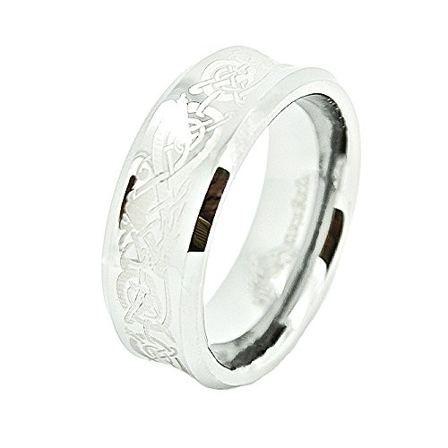 Concave Tungsten Carbide Band Ring - Unisex 8mm Concave Tungsten Carbide Wedding Band with Laser Etched Celtic Dragon Design Size 7.5