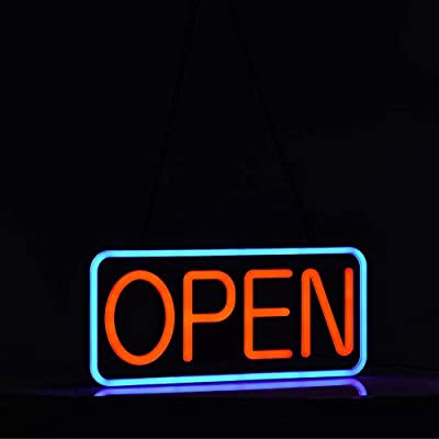 LED Neon Open Sign、21×10inch、 Flashing & Steady Light、Ultra-Long Power Cord for Business Bars Shops Windows Walls