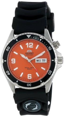 Orient men 39 s cem65004m 39 orange mako 39 automatic rubber - Orange dive watch ...