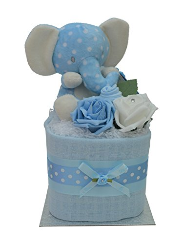 Cute Blue Elephant Square Mini New Baby Boys Nappy Cake Baby Shower Gift Packaged to Perfection MSPELBL