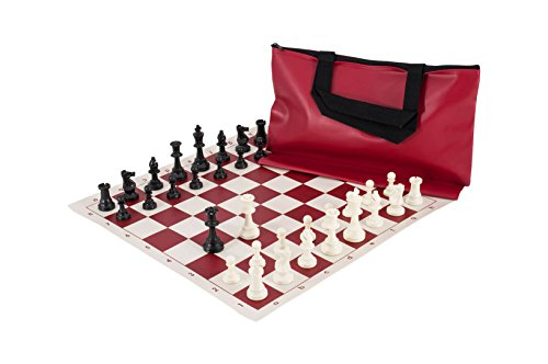 The House of Staunton Superior Chess Set Combination - Single Weighted - Red Bag/Board - by US Chess Federation (Superior Chess Board)