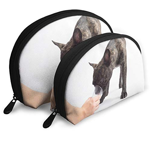SUNGTER French Bulldogs Drinks A Water of A Glass. On White Background Multifunctional Portable Cosmetic Bag Storage Bag
