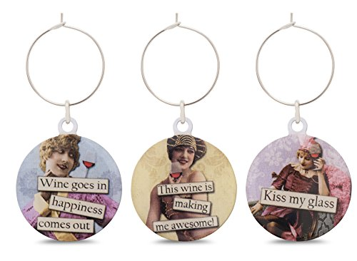 Funny Vintage Women Wine Glass Charms - Set of 6 Wine Tags. Always know which glass is yours with these wine markers! by Savvy Design Store (Image #5)