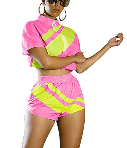 Short Sets Women 2 Piece Outfits Stripes Patchwork Crop Top and Shorts Tracksuit Sets Small Rose Yellow (Best Outfits For Short Women)