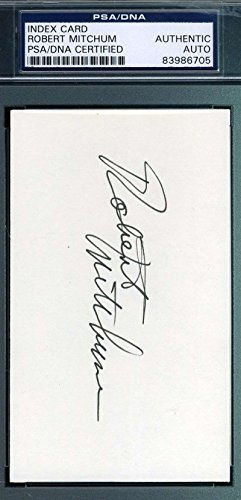 - ROBERT MITCHUM HAND SIGNED PSA/DNA 3X5 INDEX CARD AUTHENTIC AUTOGRAPH