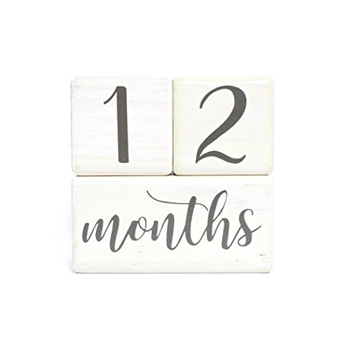 LovelySprouts Premium Solid Wood Milestone Age Blocks | Choose from 2 Stain Options (Pickling White) | Baby Age Photo Blocks | Perfect and Keepsake