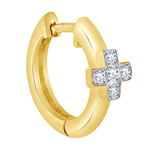White Natural Diamond Cross Single Hoop Earring in 18K Solid Yellow Gold by Wishrocks