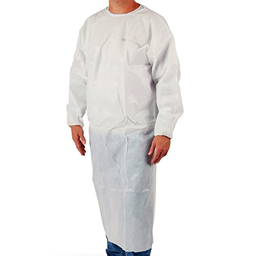 (UltraSource Poly Coated Disposable Smocks/Gowns, Large (Pack of 50))