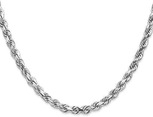 14k White Gold 24in 5mm Handmade D/C Rope Necklace Chain