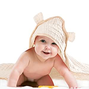 Premium Baby Hooded Bath Towel - 100% Un-Dyed Organic Cotton Muslin - For Boys and Girls
