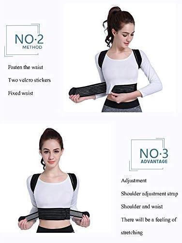 バックブレース姿勢矯正器具、調節可能な肩、男性または女性のための手助け、首と肩の痛みの軽減(ホワイト、ブラック) (Color : White, Size : XS)