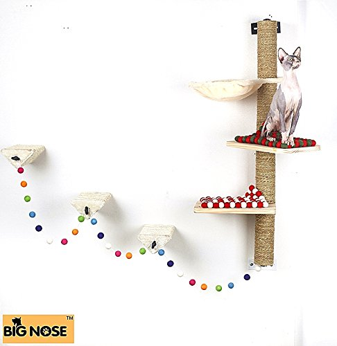 BIG NOSE- Wall Mounted Cat Scratching Post Multi Level Cat Shelves with Solid Wood Steps and Sunny Seat Hammock … 3