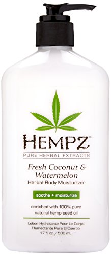Body Moisturizer: Fresh Coconut & Watermelon Moisturizing Skin Lotion, 17 oz (Hempz Pure Herbal Extracts)