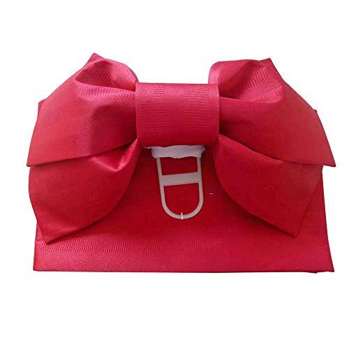 Traditional Kimono OBI Belt Pre-Tied Bow Floral Pattern Cho-Cho Japanese DIY Belt Sash Tsukuri OBI Yukata Cosplay Accessories Red ()