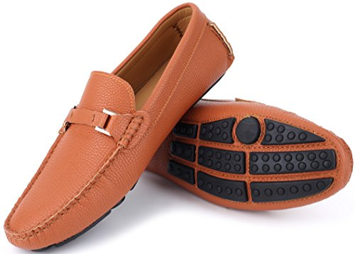 - Mio Marino Mens Loafers - Italian Dress Casual Loafers for Men - Slip-on Driving Shoes - in Gift Shoe Bag - Urbane Pebble Leather Loafer - Tan - Size US-8D(M) | UK-7.5 | EU-42