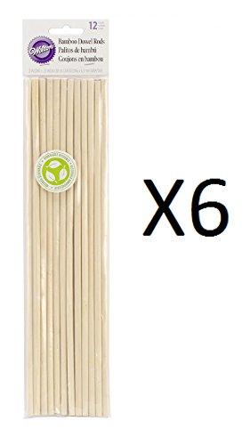 Bulk Buy: Wilton (6-Pack) Bamboo Dowel Rods 12/Pkg 12in. (Bamboo Dowels)