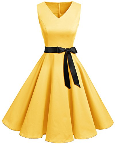 Bridesmay Women's V-Neck Audrey Hepburn 50s Vintage Elegant Floral Rockabilly Swing Cocktail Party Dress Yellow Small ()