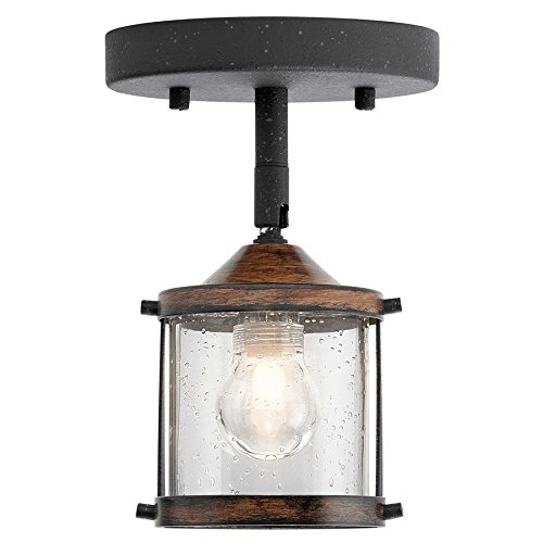 Kichler Barrington 1-Light 4-in Distressed Black And Wood Dimmable Flush Mount Fixed Track Light (Distressed Black Ceiling Mounts)