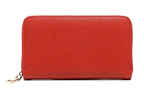 Fits Apple Iphone (Genuine saffiano leather with Gold Hardware Multi Credit Card holder and space to fit Apple Iphone and Samsung Galaxy cellphone (Red))