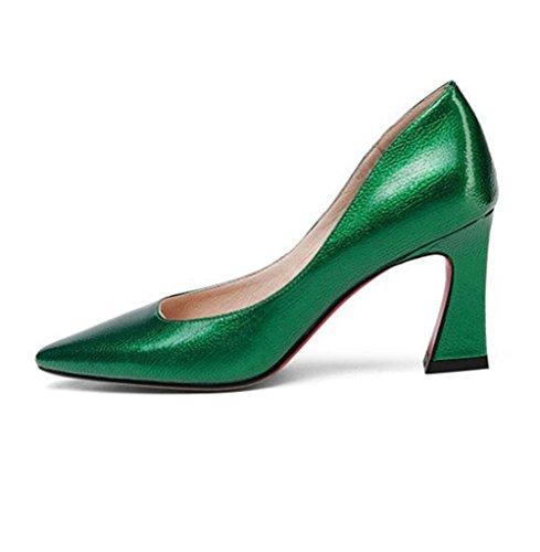Fête Pompes Noir NVXIE Or Talon Pied Tribunal Pointu Travail EUR39UK665 GREEN Chaussure Doigt Haute de Femmes Chaussures Cuir Chunky Rugueux Robe wvawx7qC