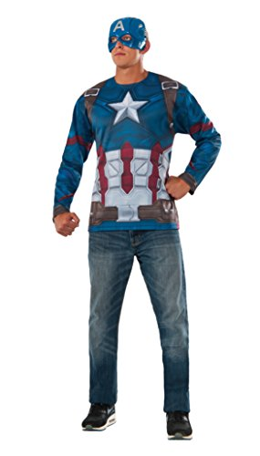 [Captain America: Civil War Captain America Costume Top and Mask, Multi, One Size] (Captain America Costumes For Adults)
