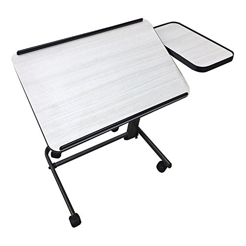 Acrobat Professional Overbed/Laptop Table, Tilting, Height Adjustable with Casters. Split Top for Maximum Vesatility. Folds for Easy Storage. (white birch) by Platinum Health