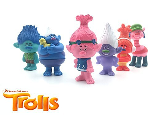 LessStress DreamWorks Trolls Movie Toy 3 inches Tall, Toys Set of 6 Trolls Action Figures Figurines - Trolls Princess Poppy, Branch, Cooper, Guy Diamond, DJ Suki, - 90s Popular Movies Most