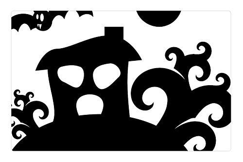 Indoor Floor Rug/Mat (23.6 x 15.7 Inch) - Haunted House Halloween Trees Silhouette -