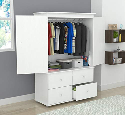 Inval America AM-15123 Laricina-White Armoire/Audio/Video Combo