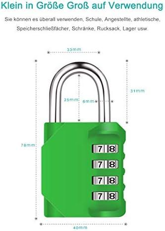[Gesponsert]Diyife 2er Pack 4-Stelliges Zahlenschloss, Kombinationsschloss, Vorhängeschloss, Wetterfestes Metall & Plated Steel Combination Lock für Schule, Gym & Sports Locker, Hasp Cabinet & Storage