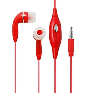 Brand New Red HandsFree EarPhone HeadPhones HeadSet With Mic For Samsung ATIV S