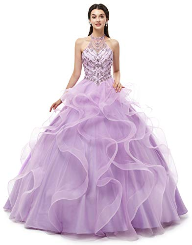 Bridal Mall Women's Luxurious Halter Round Neck Beaded Prom Quincenera Dresses Cascading Ruffles Formal Wedding Gowns Lilac 2 ()