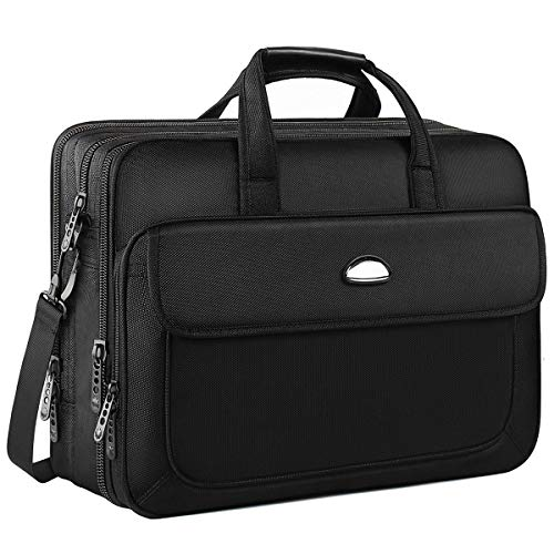 17 inch Laptop Bag, Expandable Large Briefcase, Messenger Bags for Men, Crossbody Shoulder Bag Fit up to 17 inch Laptop Notebook MacBook Pro Air Ultrabook (17 Inch Black)