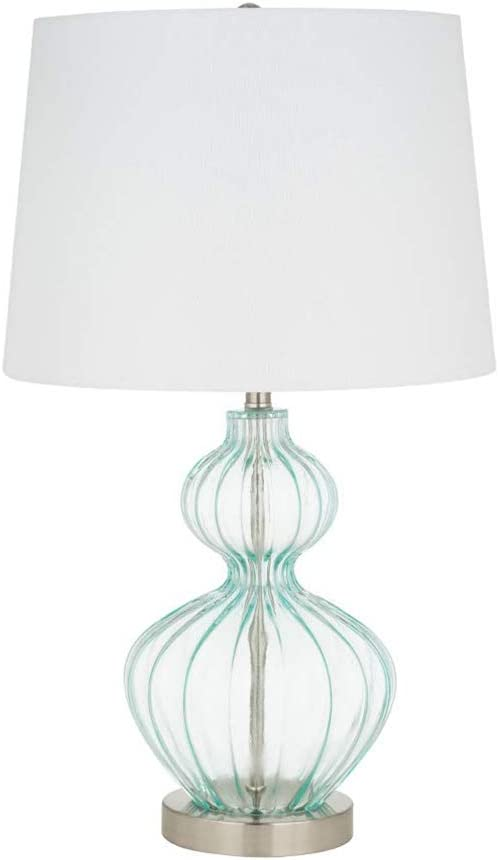 Ravenna Home Modern Table Lamp With LED Light Bulb -23.75 Inches, Brushed Nickel with Blue Glass