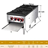 Commercial Countertop Pot Stove - KITMA Natural Gas 2 Stock Pot Stove Range with 4 Manual Controls for Restaurant, Short Body, 18 Inches, 160,000 BTU