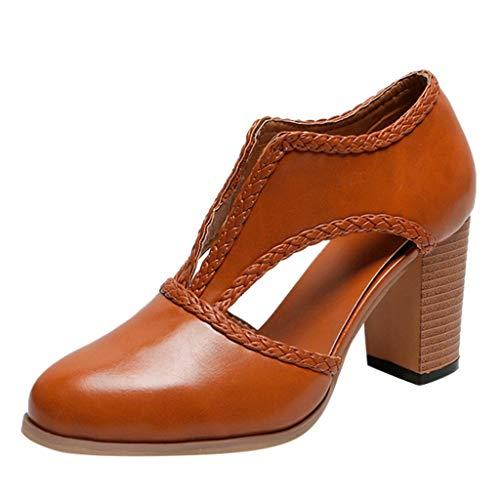 - Women's Basic SADUORHAPPY Square Heel Heel Pump - Classic Retro Comfortable Sandals