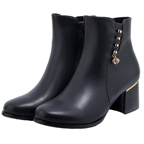 AIYOUMEI Damen Ankle Boots Blockabsatz Stiefeletten mit Strass Bequem  Herbst Winter Warm Stiefel Schuhe Schwarz ... f7f322401d