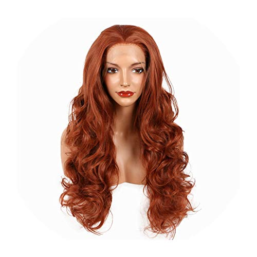 Perfect-Starry Copper Red 350# Color Synthetic Lace Front Wigs For Women Handmade Body Wave Heat Resistant Fiber Drag Queen Hair Cosplay,Auburn,20inches -