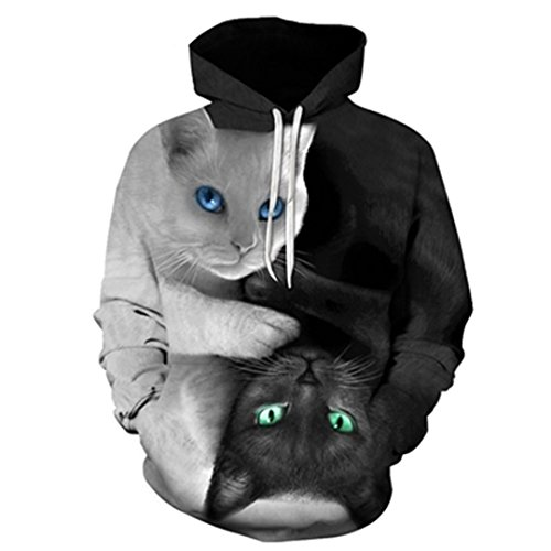Cute Yinyang Cat 3D Galaxy Cats Sweatshirt Cool Wolf/Lions/Tiger Pullovers by MSYI