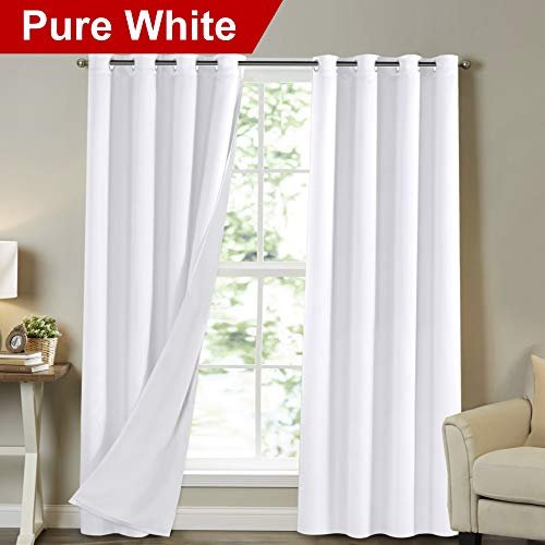 """Full Light Blocking Lined Curtains Solid White 84 Inch Long Faux Satin with White Liner Noise Reducing Nursery Room Curtains Room Darkening Drapes Wide 52"""" by Long 84"""", Pure White, 2 Panels"""
