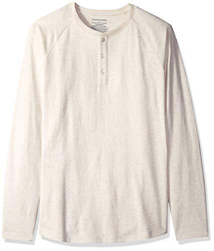 Amazon Essentials Men's Regular-Fit Long-Sleeve Henley Shirt, Oatmeal Heather, Medium (Pointelle Henley Top)