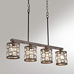 Farmhouse Ceiling Light Fixtures 4-Light Dining Room Lighting Fixtures Hanging, Oil Rubbed Bronze Chandelier with Metal and Crystal Lampshades, Farmhouse… farmhouse ceiling light fixtures