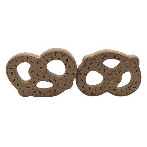 Amyster 2pcs Wooden Bread Stick Teething Wood Pretzels Chew Teether Pendant for Necklace/Bracelet Nursing Toy Baby Play Gym (2pcs)