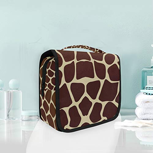 (Toiletry Wash Bag Cosmetic Makeup Travel Toiletry Bag with Giraffe Print for Women)