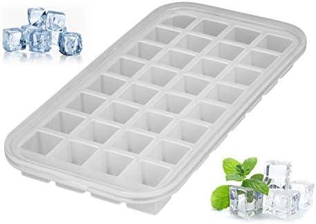 [Gesponsert]Levivo Silikon Eiswürfelform für 32 Eiswürfel, Antihaft Eiswürfelbehälter, Eiswürfelbereiter Semi-Transparent, Eiswürfelsilikonform, Silikoneiswürfelform, Eiswürfel Form Silikon, ca. 27 x 14 x 2,9 cm