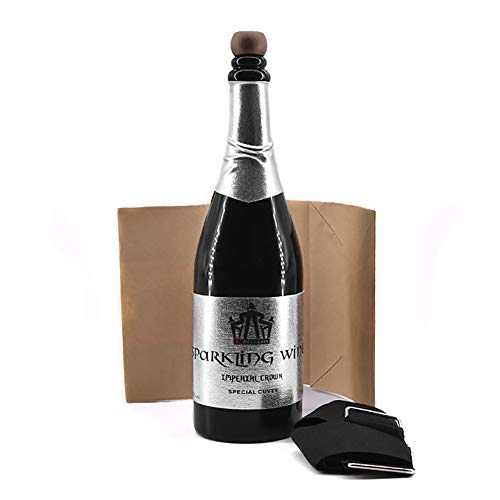 Enjoyer Vanishing Champagne Bottle Can Pour Liquid Close-up Magic Tricks Magician Stage Illusion Gimmick Props (Black) -