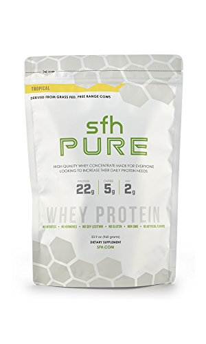 PURE Whey Protein Powder (Tropical) by SFH | Best Tasting 100% Grass Fed Whey | All Natural | 100% Non-GMO, No Artificials, Soy Free, Gluten Free | 2lb bag (960g) | 32 servings