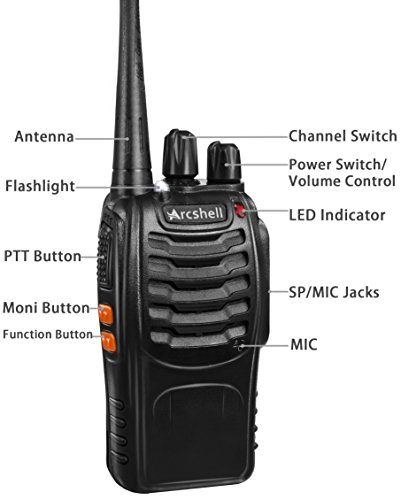 d3f047fbfce ... Arcshell Rechargeable Long Range Two-way Radios with Earpiece 4 Pack  UHF 400-470Mhz ...